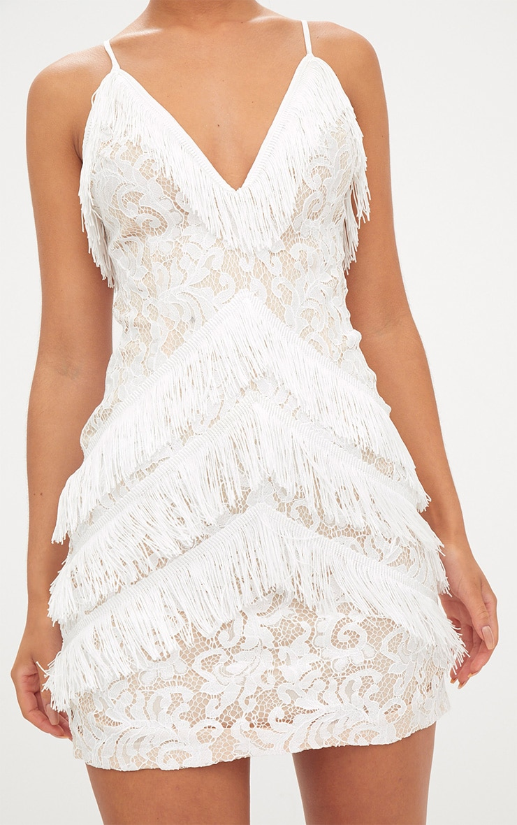 White Strappy Lace Tassel Detail Bodycon Dress 5
