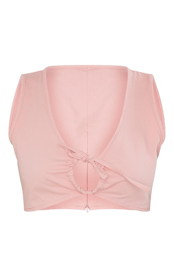 Pink Tie Detail Front Denim Crop Top 5