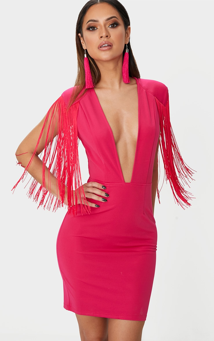 Fuchsia Tassel Shoulder Extreme Plunge Bodycon Dress 1