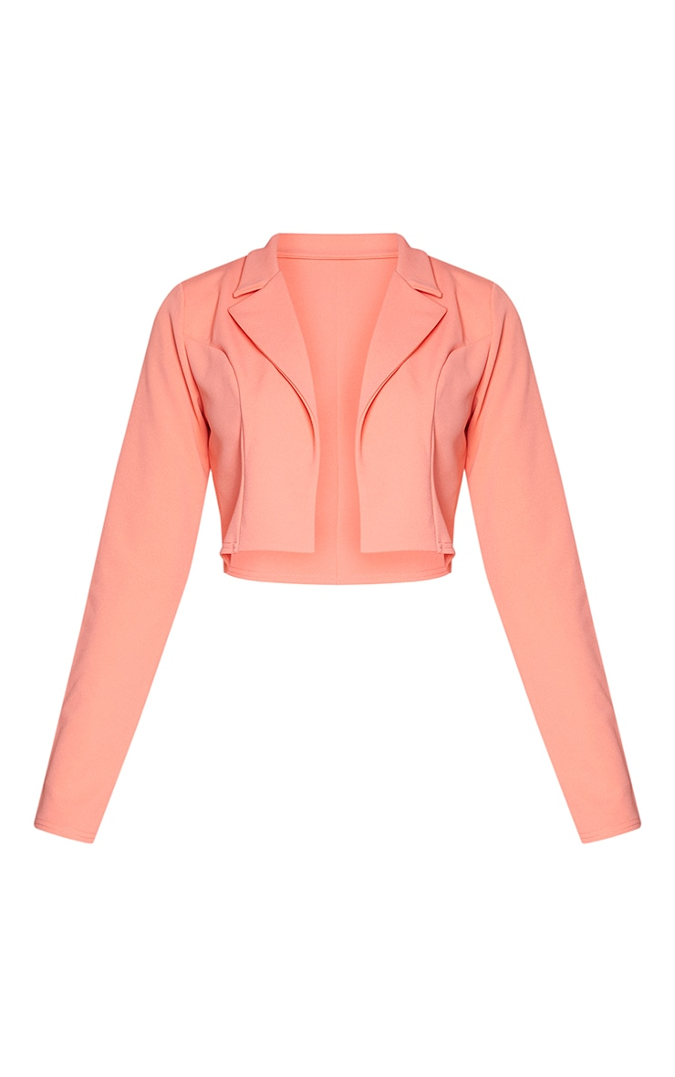 Coral Cropped Suit Blazer 5