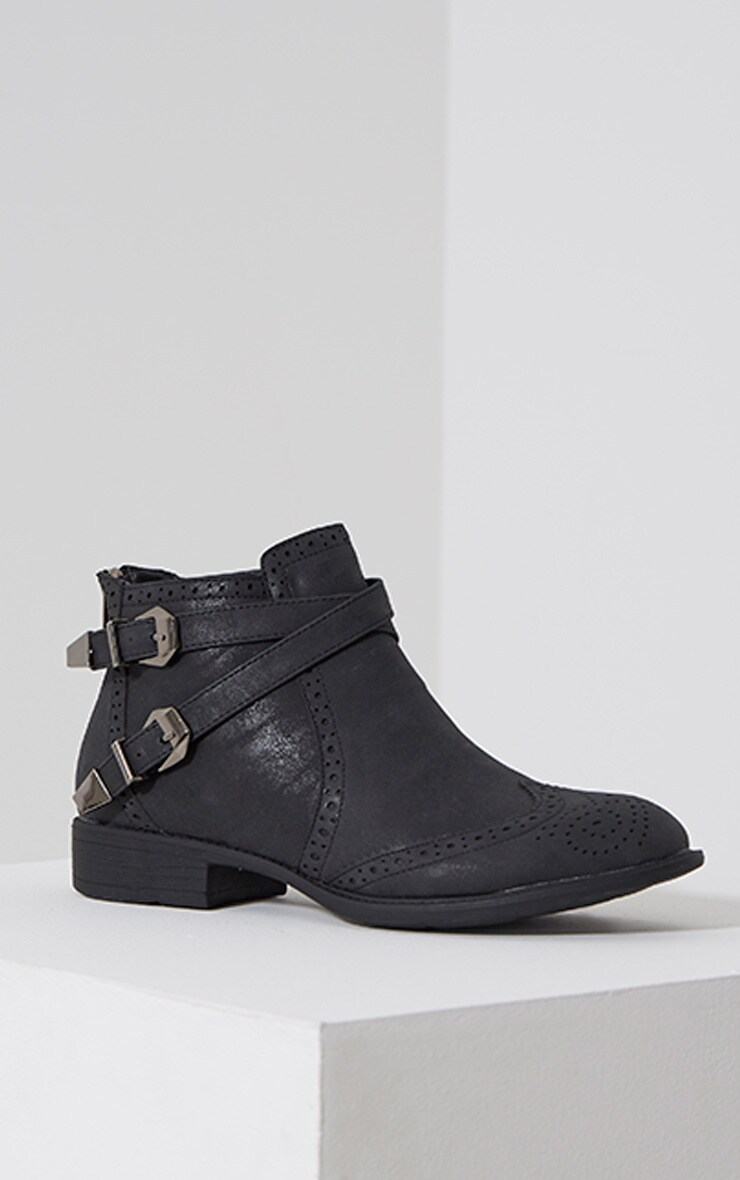 Phia Black Ankle Buckle Detail Chelsea Boots 3