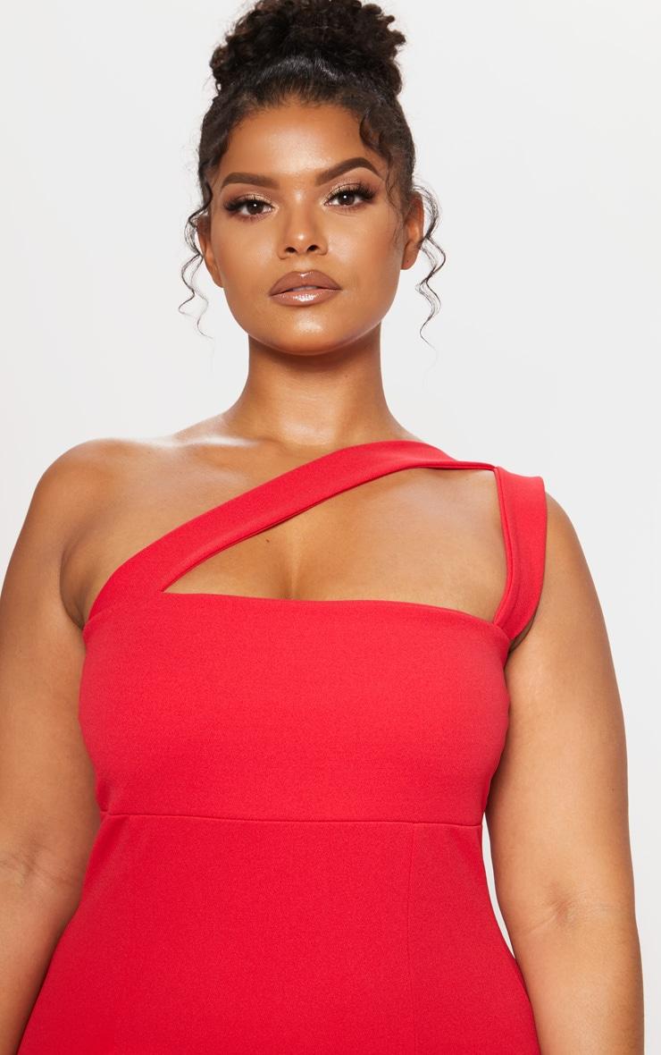 Red One Shoulder Strappy Midi Dress 6