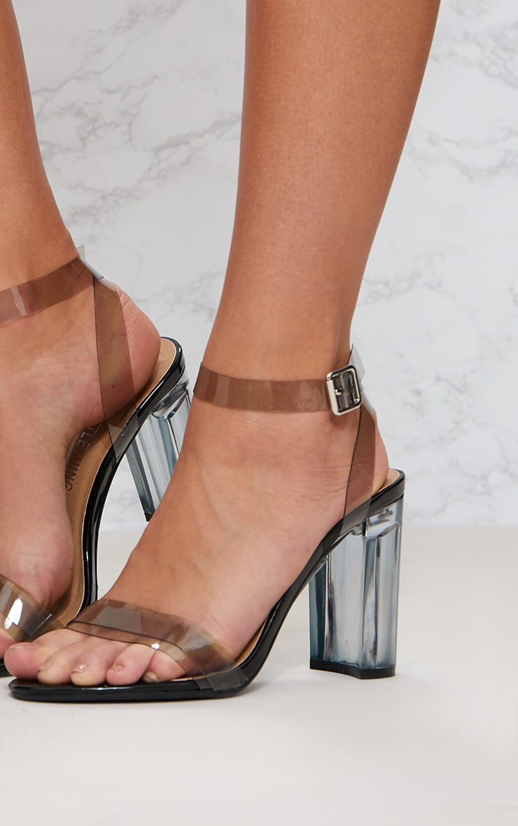 Black Clear Block Heel Sandal 5