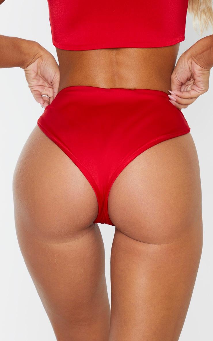 Red High Waisted Bikini Bottom 4