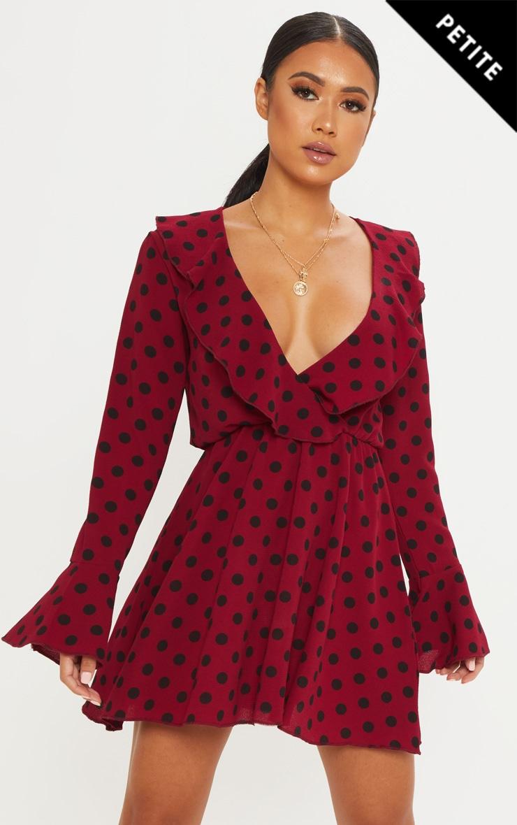 Petite Burgundy Polka Dot Frill Detail Shift Dress