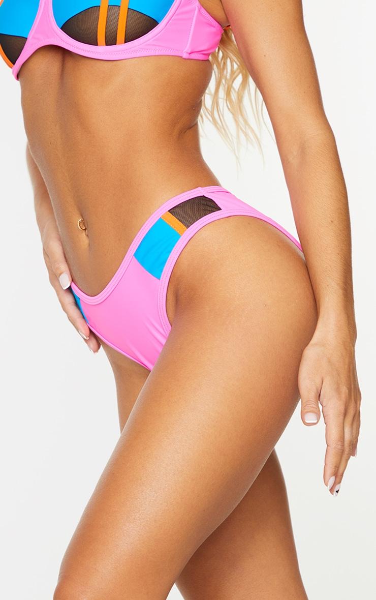 Pink High Leg Mini Bikini Bottoms 4