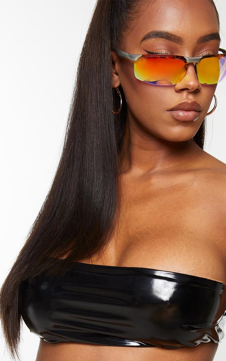 Shape Black Vinyl Bandeau Bikini Top 4