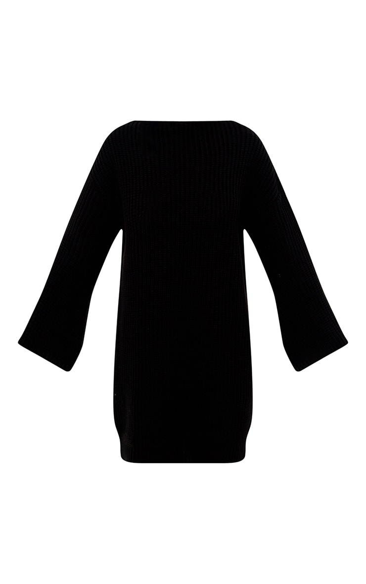Black Chunky Knit Flute Sleeve Jumper 3