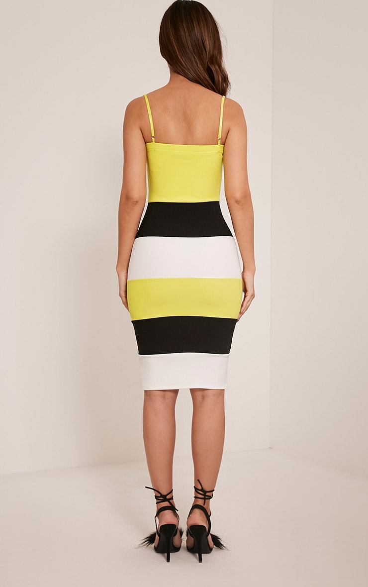 Ebony Lime Green Contrast Colour Block Bandage Dress 2