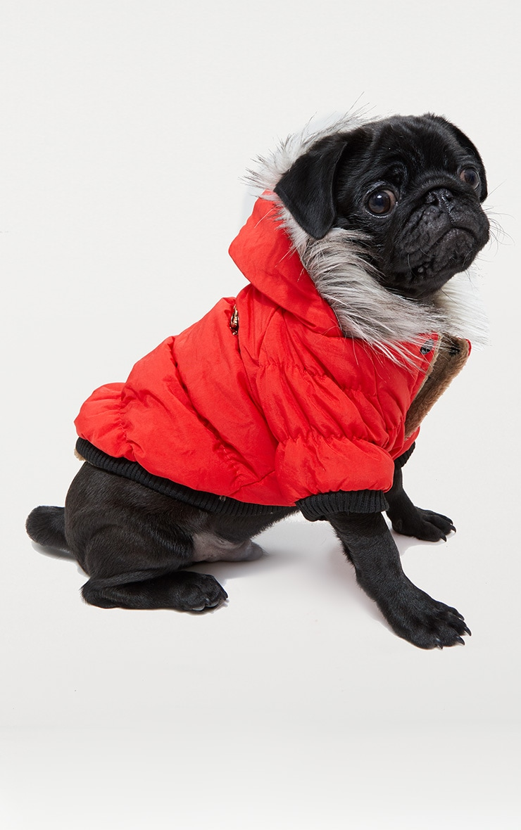 Red Quilted Faux Fur Hood Doggy Coat 1