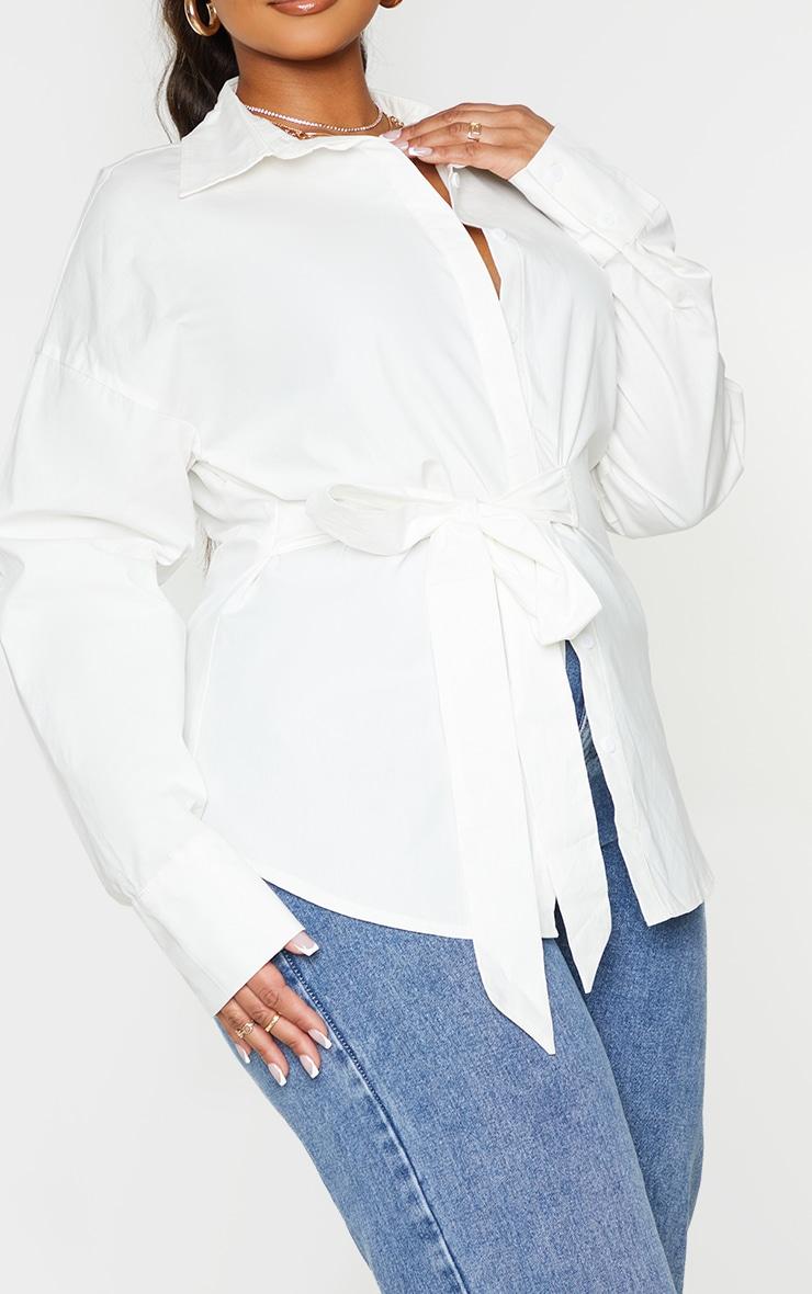 Plus White Tie Side Detail Poplin Shirt 4