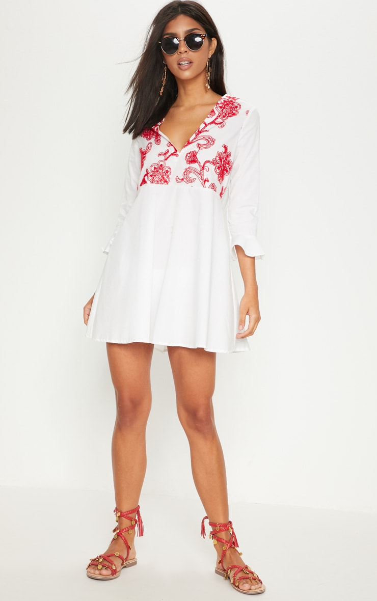 White Embroidered Frill Sleeve Smock Dress  4