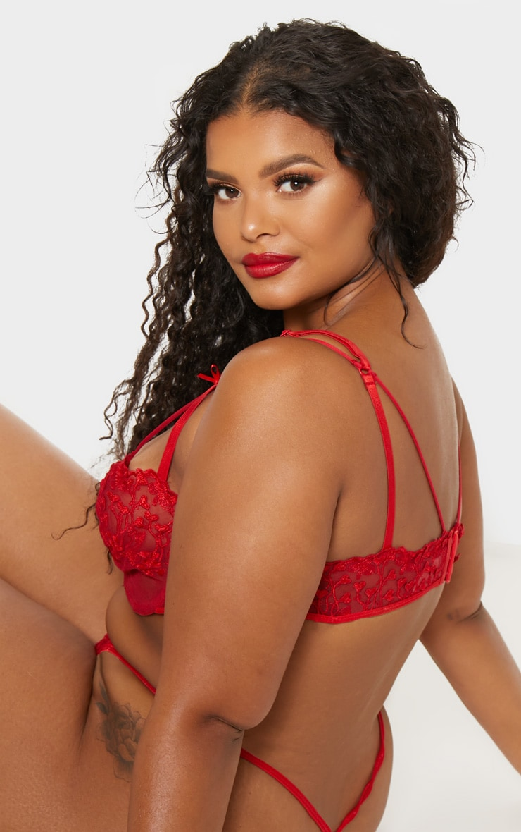 Plus Red Delicate Heart Underwired Bra 2