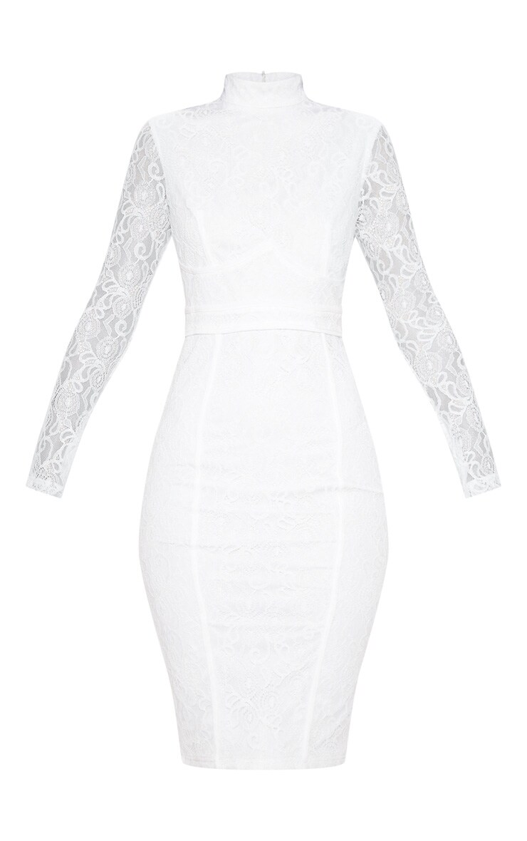 White Lace Binding Detail High Neck Midi Dress 3