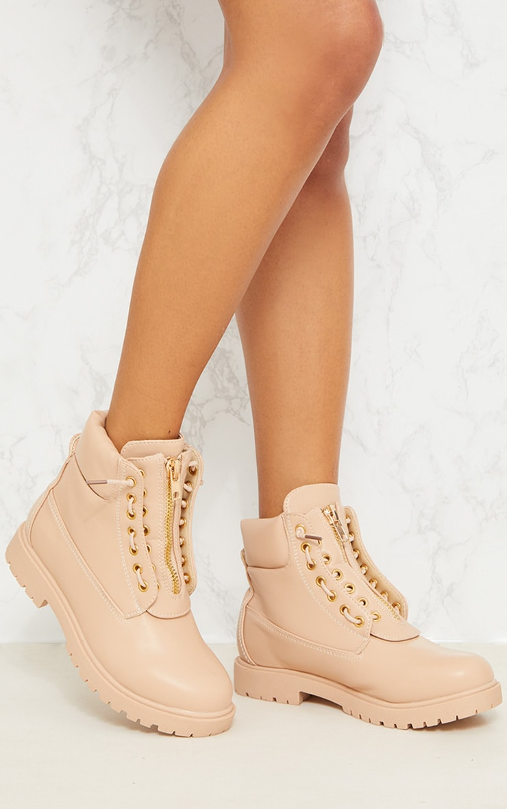 Michella Nude Zip Up Boots 2
