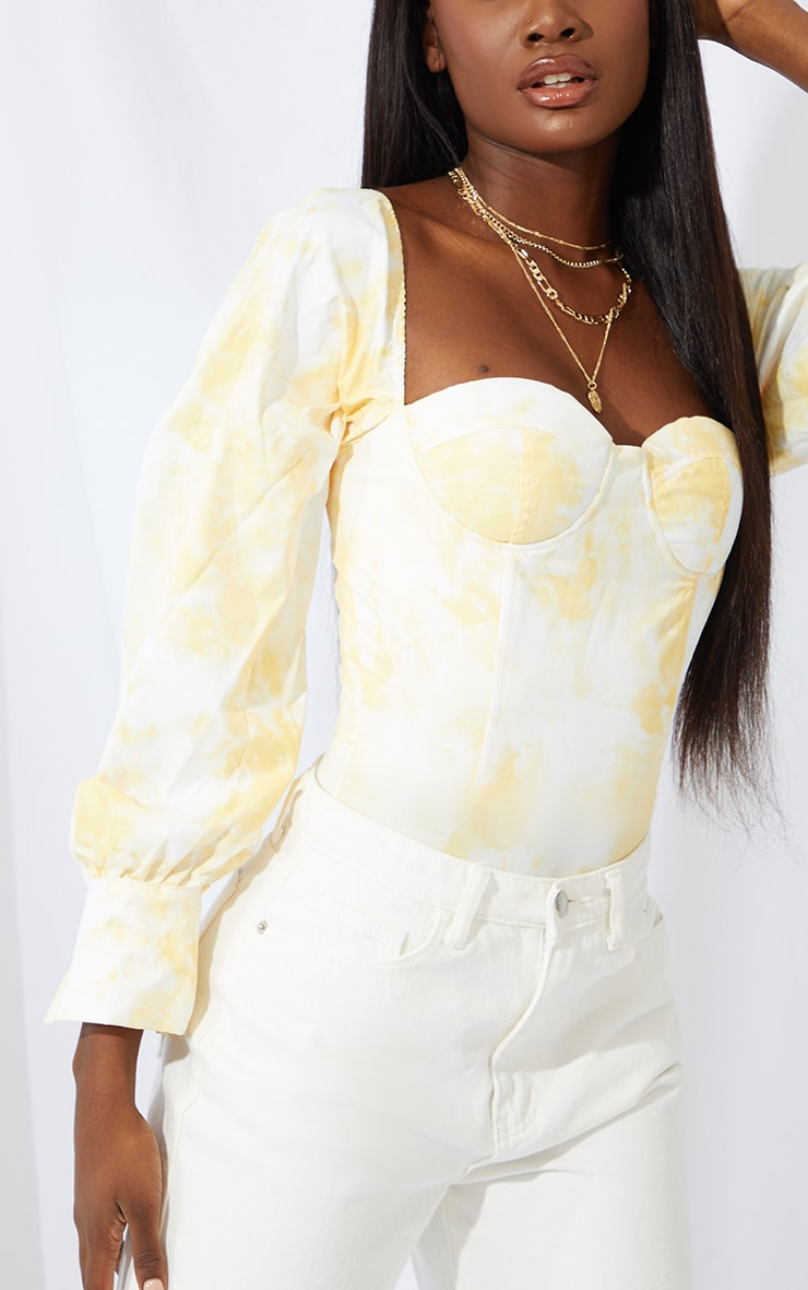 Tall Yellow Tie Dye Balloon Sleeve Cup Detail Bodysuit 3