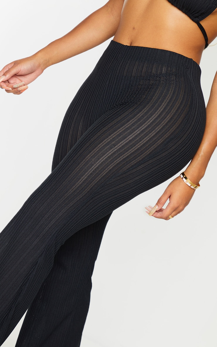 Shape Black Sheer Textured Flared Trousers 4