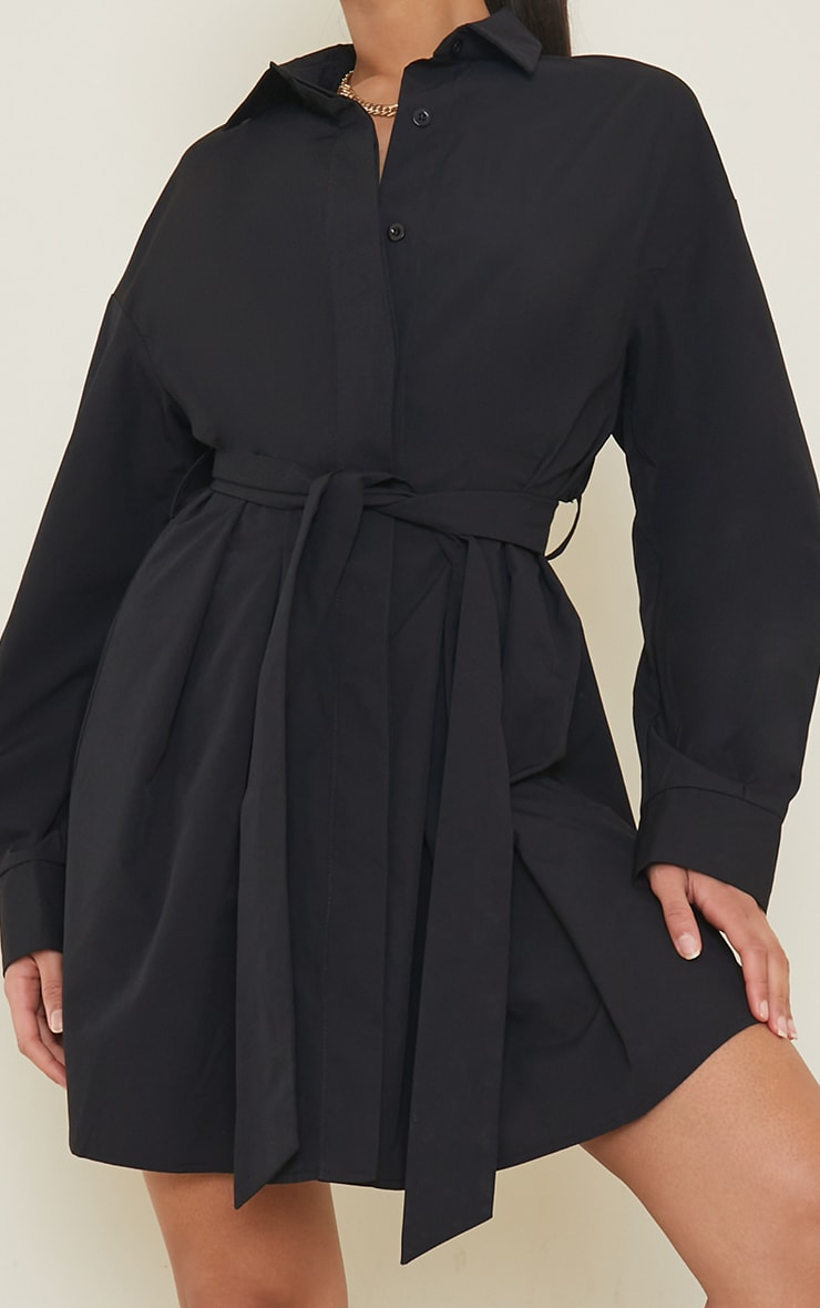 Black Pleated Detail Button Down Shirt Dress 4