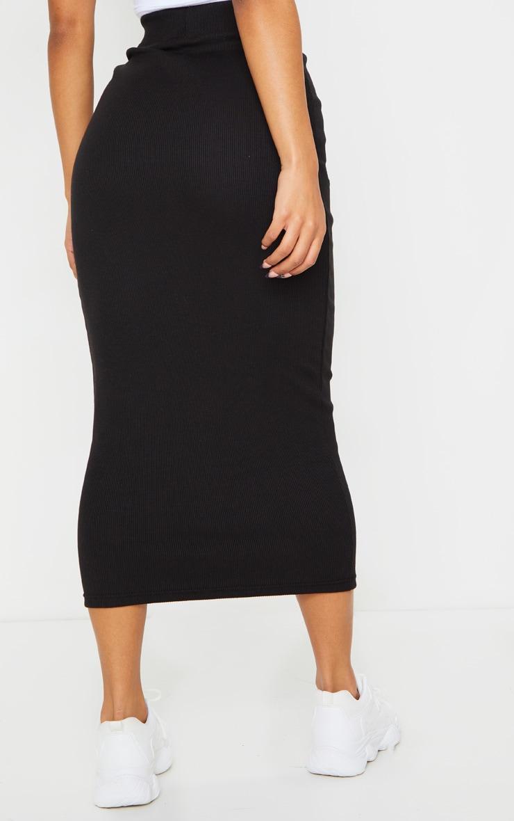 Black Structured Rib Bodycon Midaxi Skirt 3