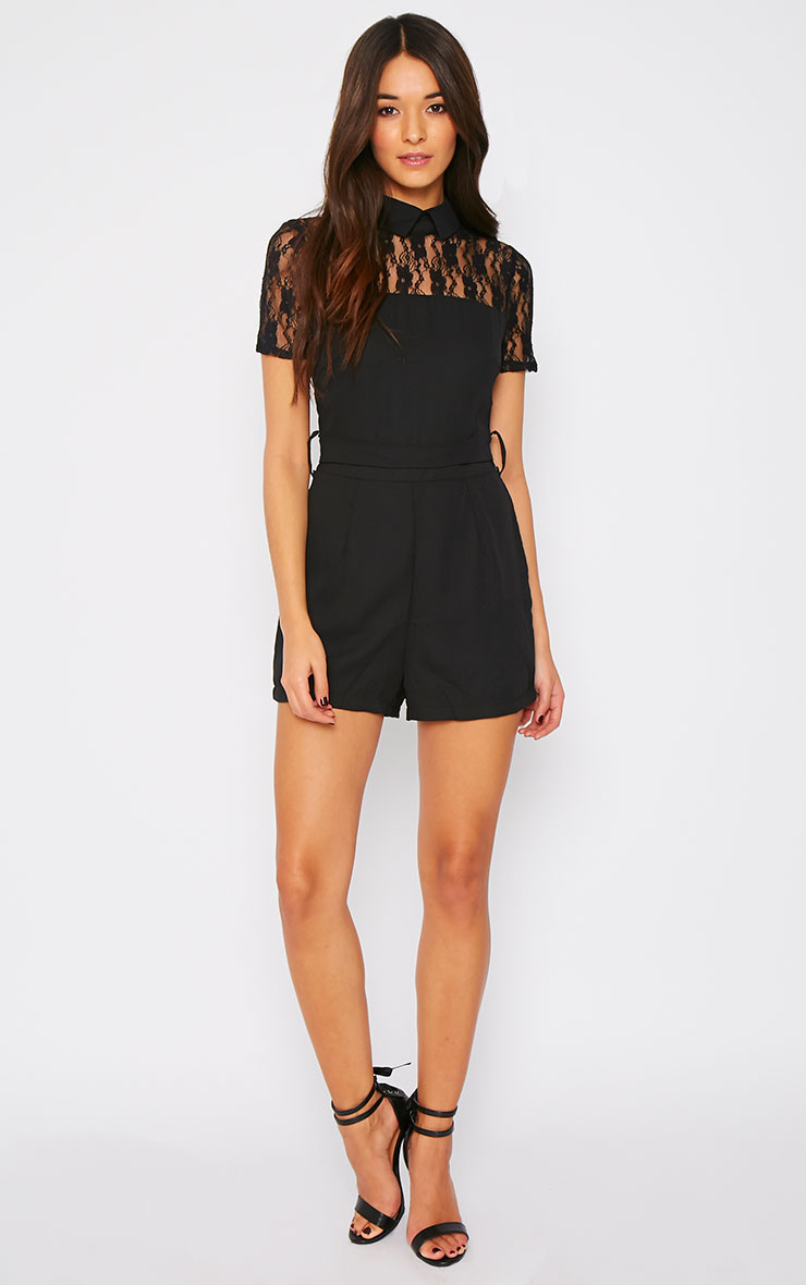 Gabby Black Lace Panel Collar Playsuit  4