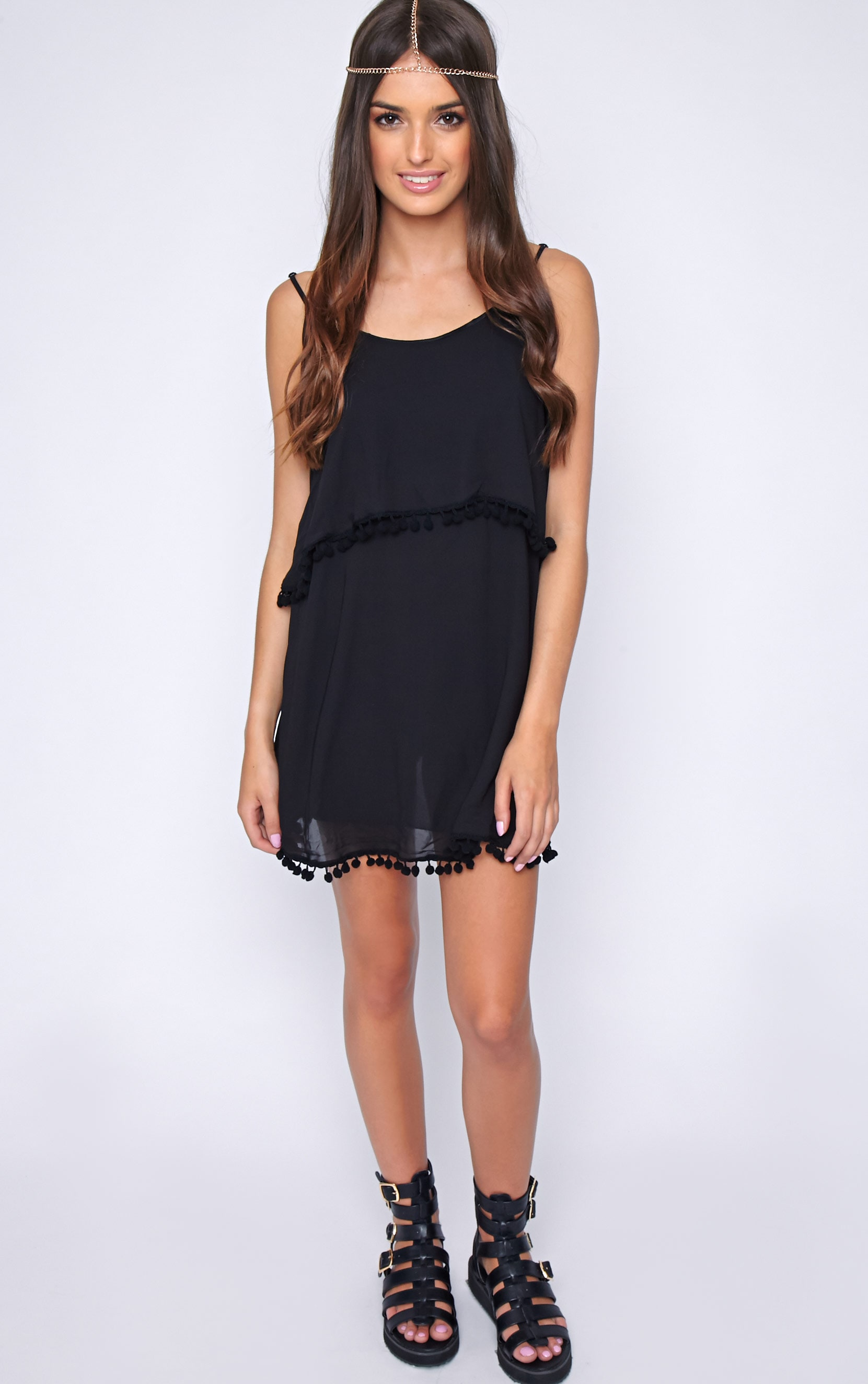 Harper Black Pom Pom Frill Dress 3