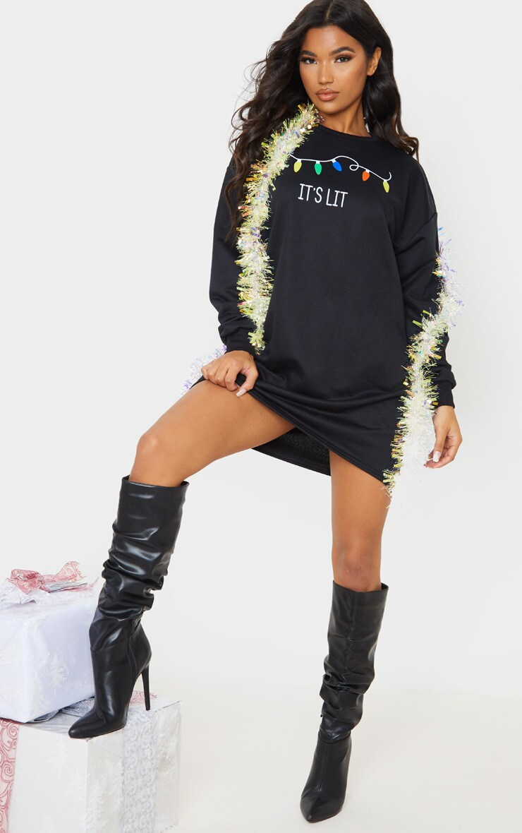 Black It's Lit Oversized Jumper Dress 4