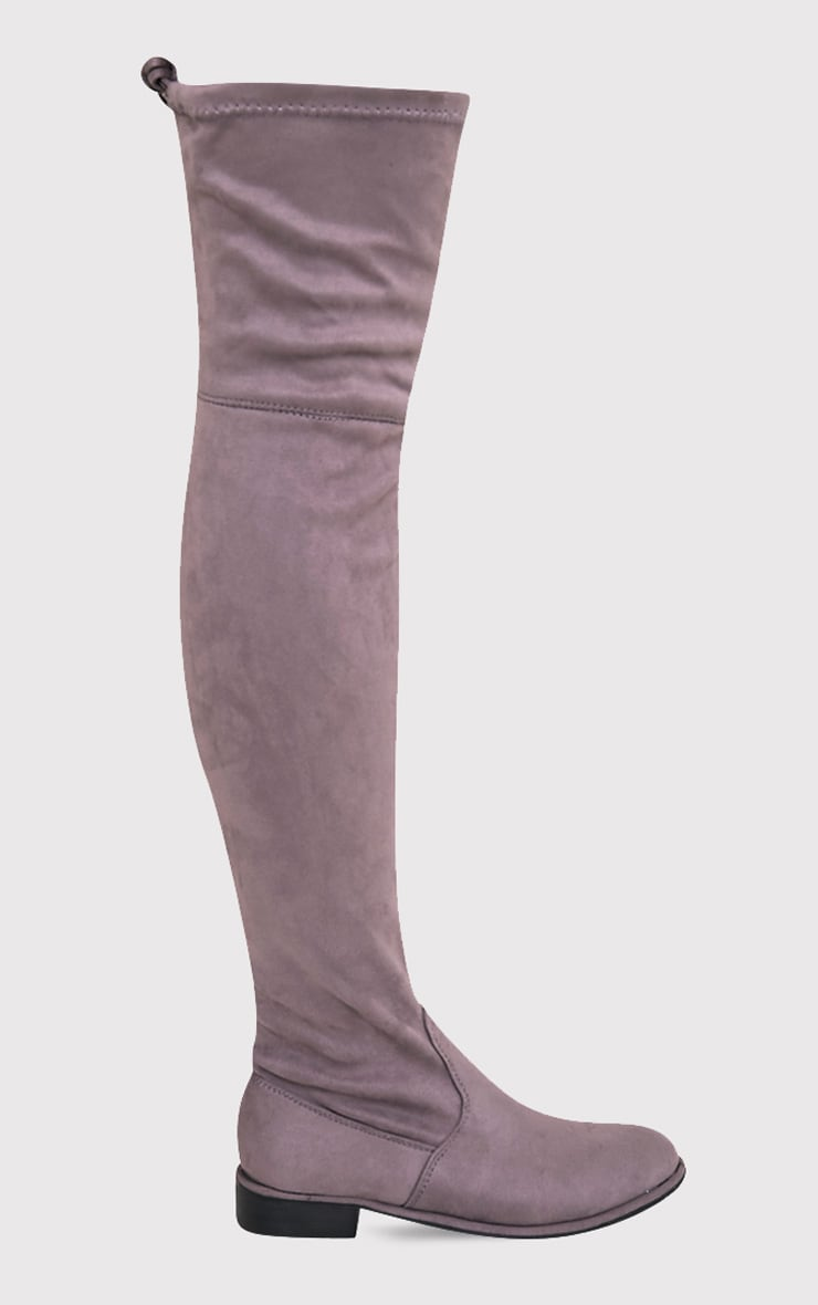 Hillary Grey Faux Suede Over The Knee Flat Boots 3