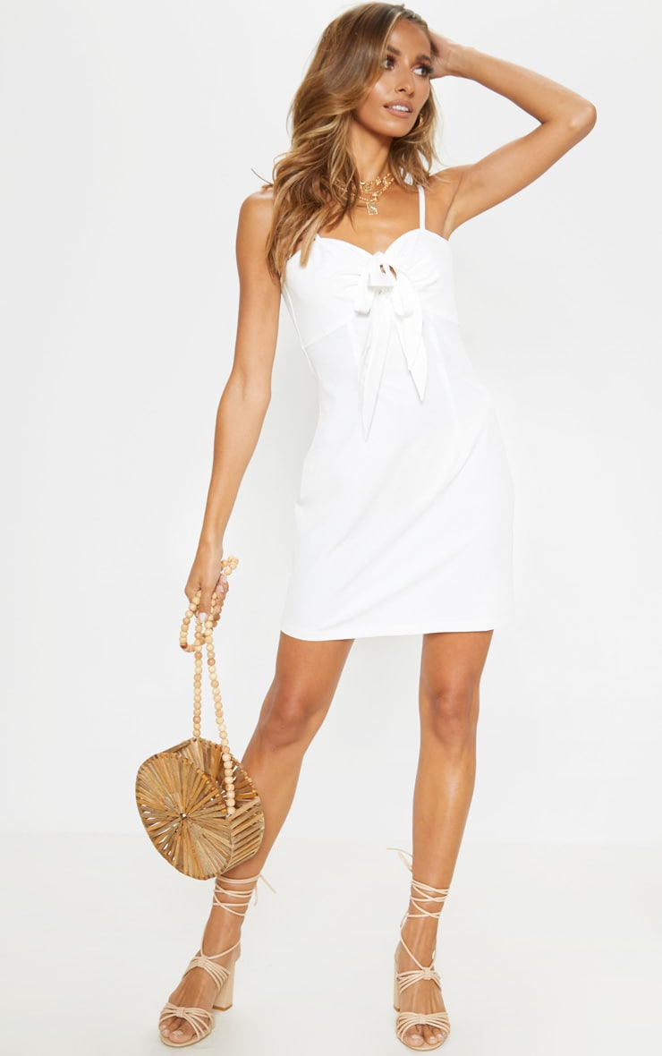 White Tie Front Woven Shift Dress 1