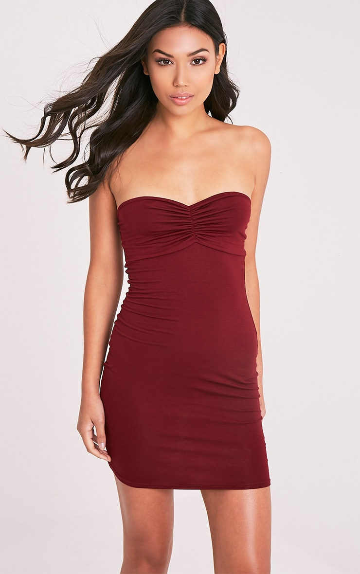 Leanna Burgundy Jersey Bandeau Bodycon Dress 1