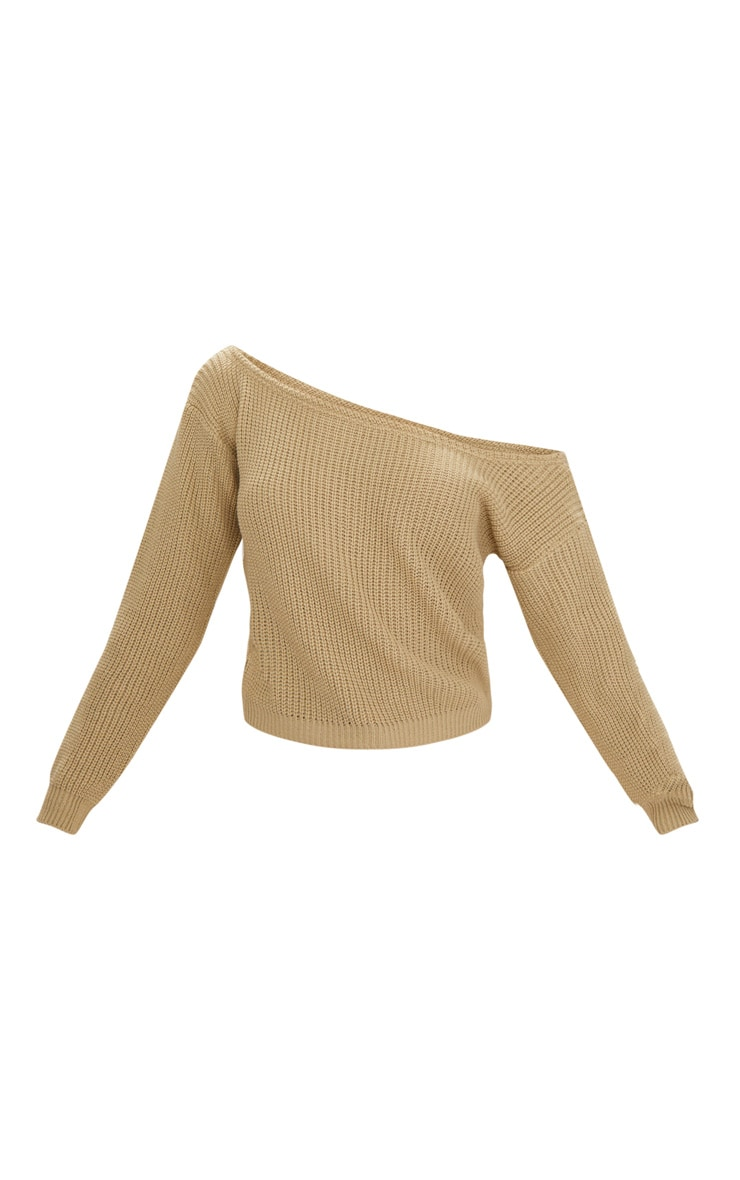Stone Off The Shoulder Knitted Jumper 3