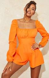 Bright Orange Tie Back Long Sleeve Romper 2