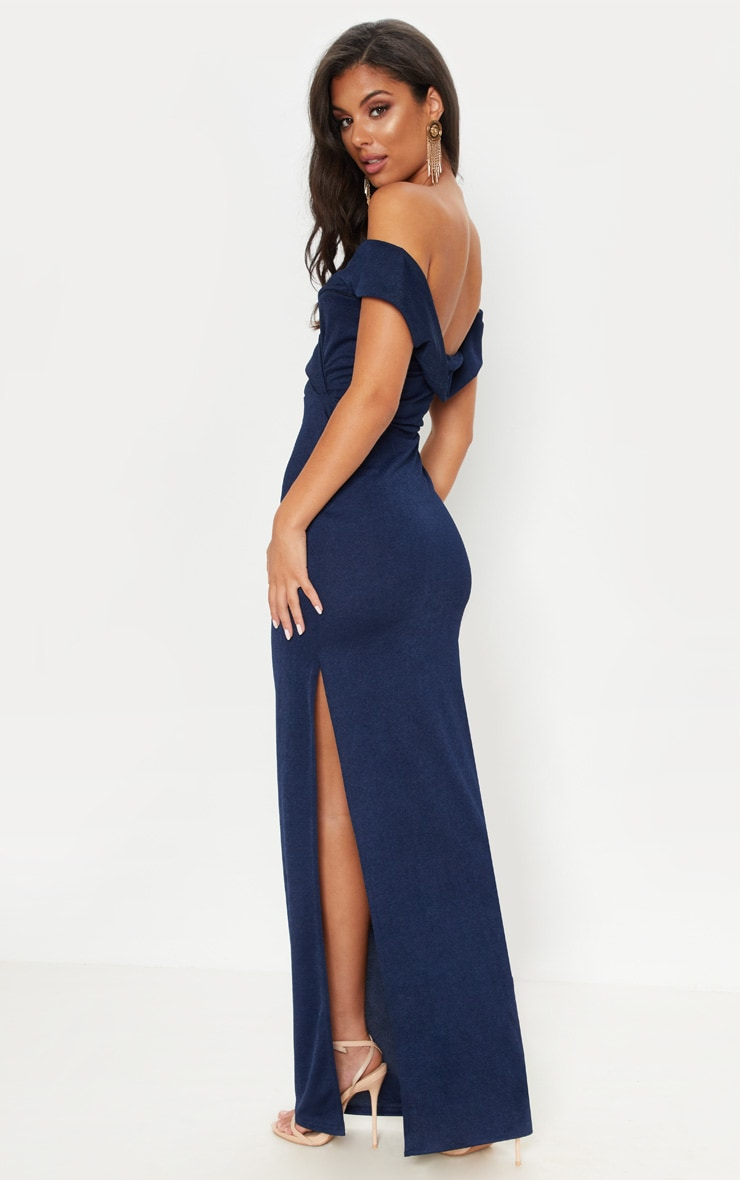Navy Bardot Fold Detail Extreme Split Maxi Dress 2