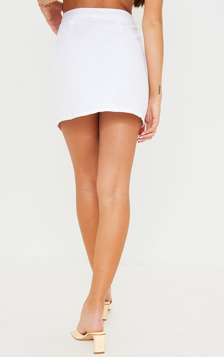 White Textured Button Detail Mini Skirt 3