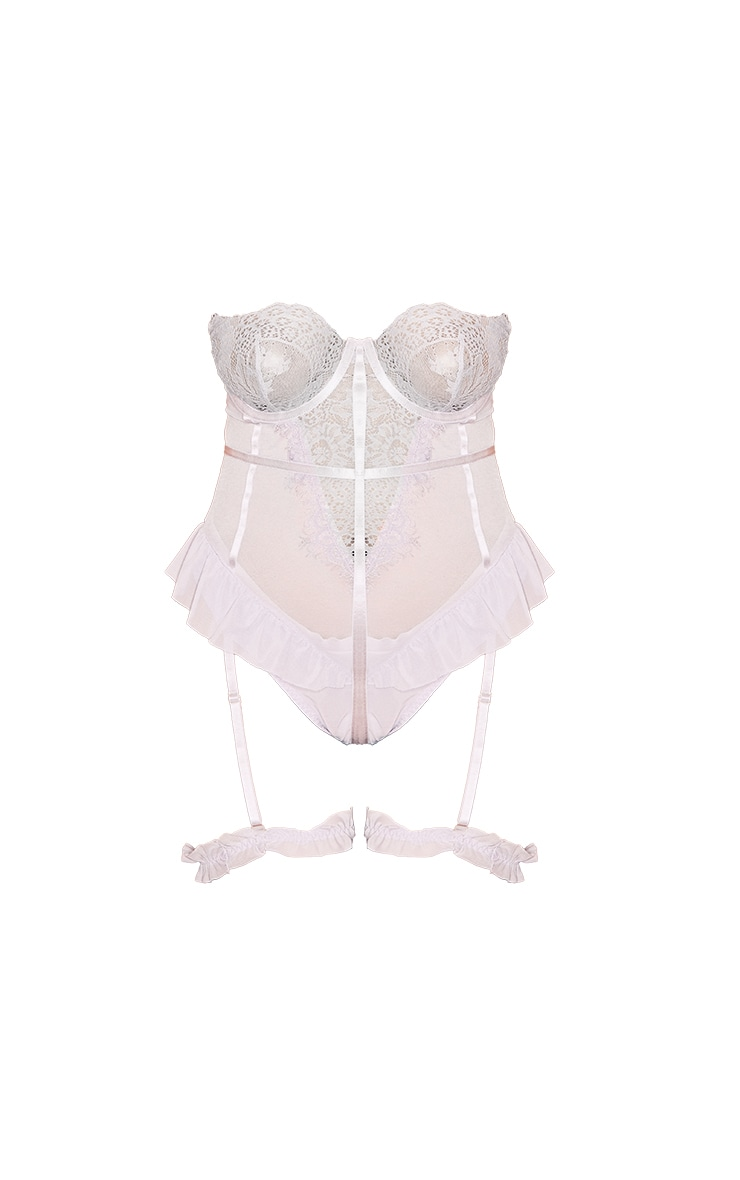 Plus Lilac Eyelash Lace Strapless Bodysuit With Suspender Straps 5