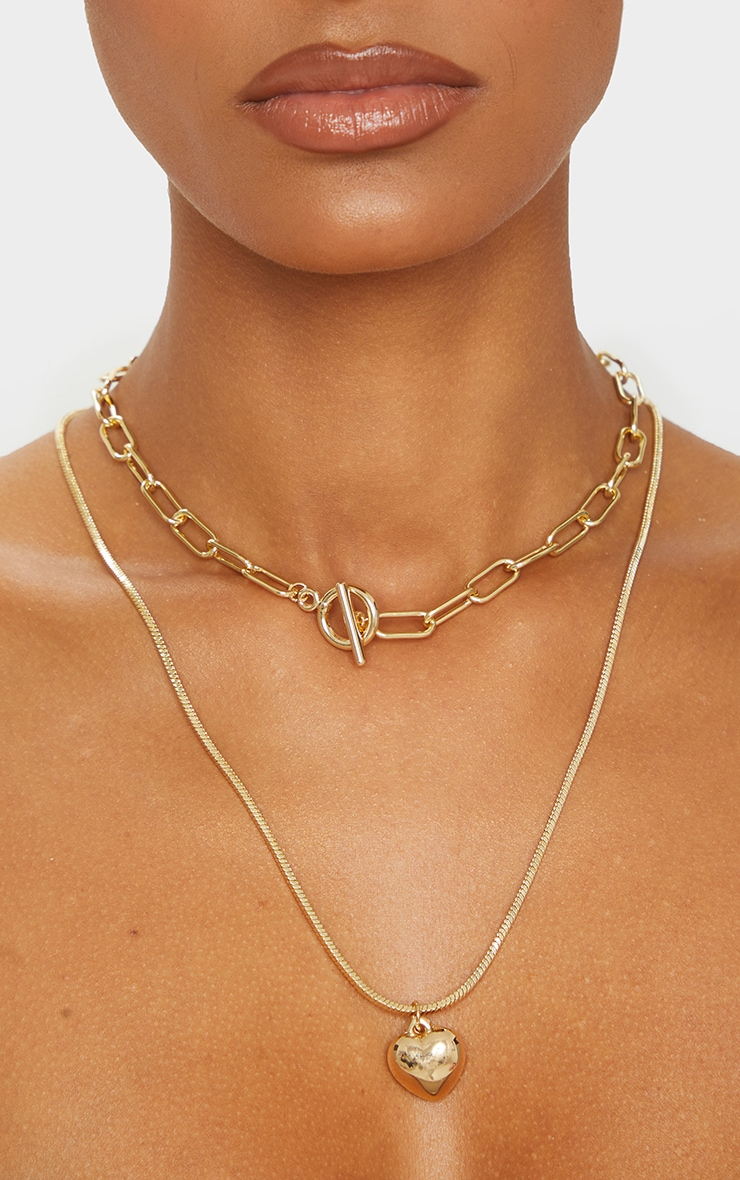 Gold Multi Layering Heart Chain Necklace 2