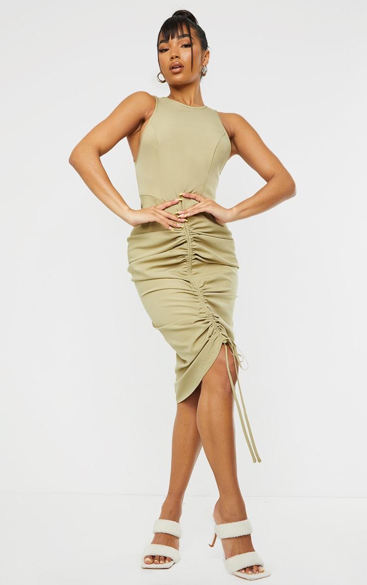 Sage Green Sleeveless Gathered Ruched Skirt Midi Dress 1