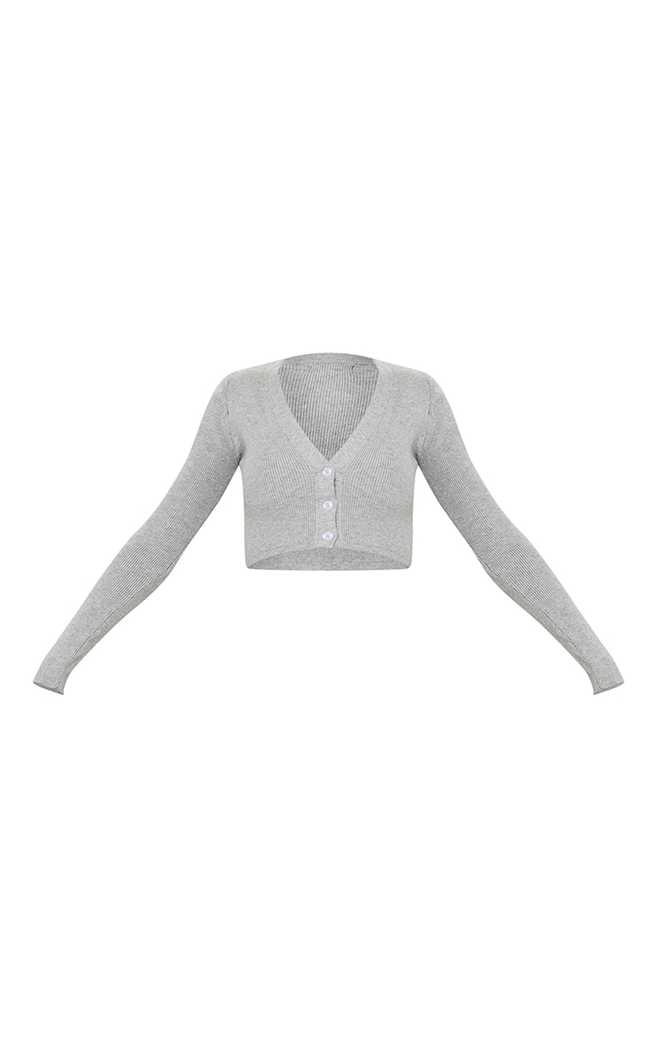 Grey Ribbed Knitted Cropped Cardigan 5