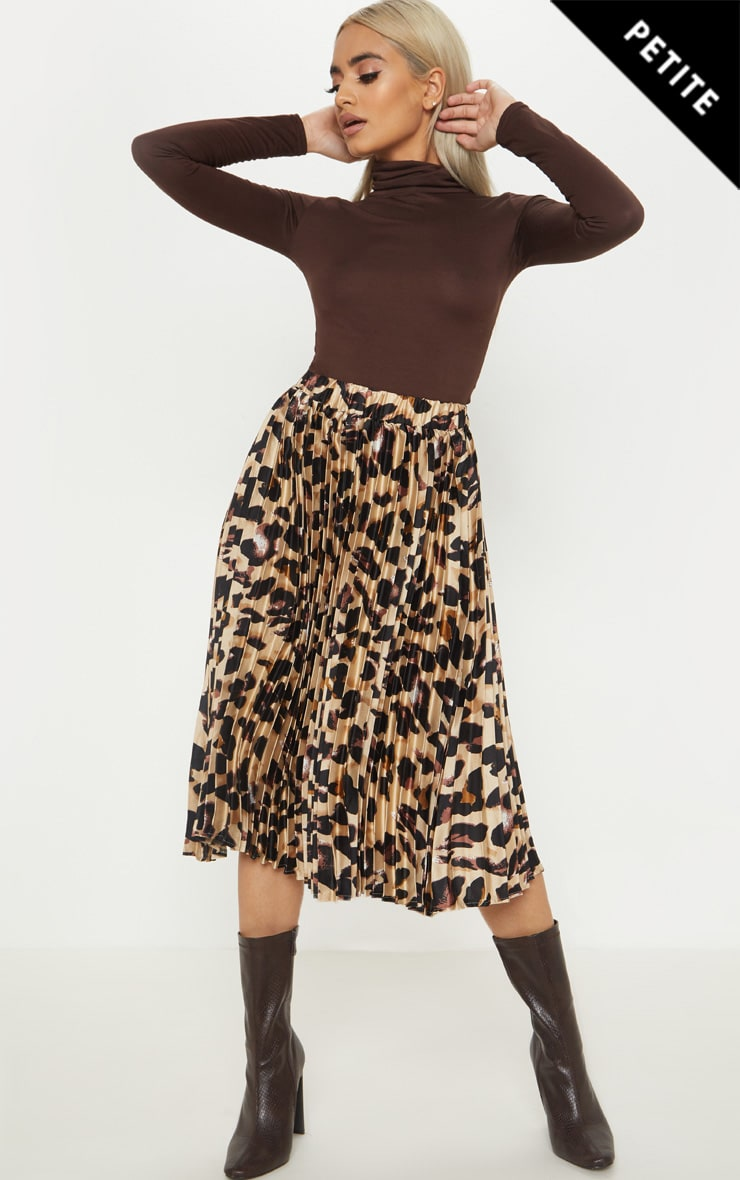 Petite Tan Leopard Print Pleated Midi Skirt 1