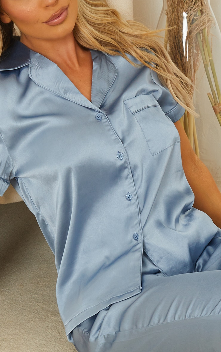 Petrol Blue Satin Short Sleeve Shirt And Pants Pj Set 4