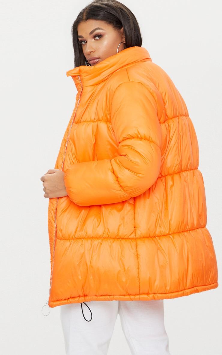 Orange Ring Pull Longline Puffer Jacket 2