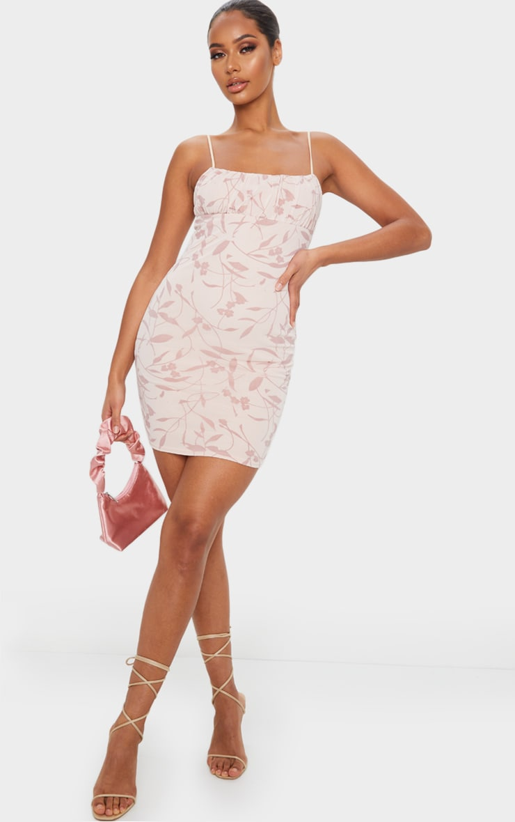 Nude Strappy Floral Flocked Detail Bodycon Dress 3