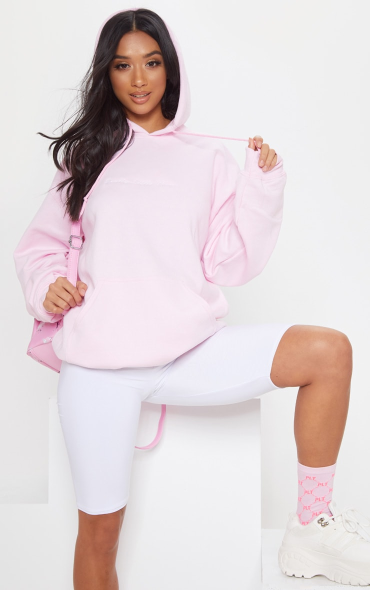 PRETTYLITTLETHING Light Pink Embroidered Oversized Hoodie 2