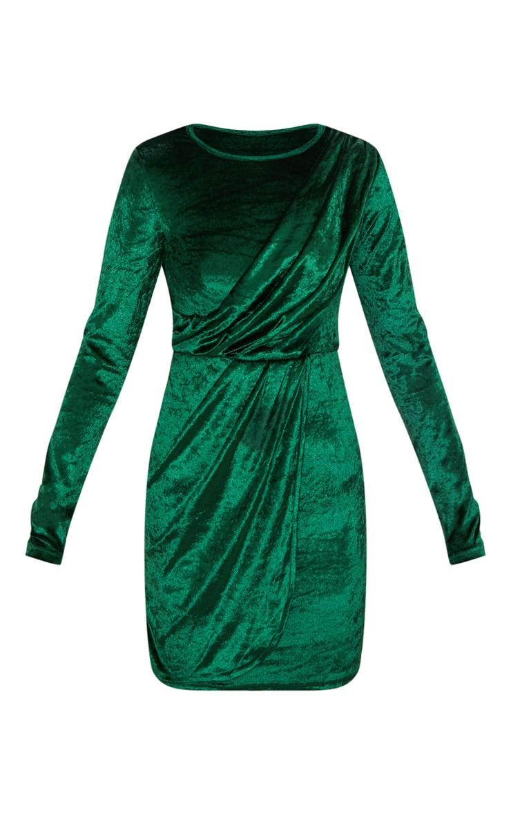 Emerald Green Long Sleeved Velvet Wrap Detail Bodycon Dress 3