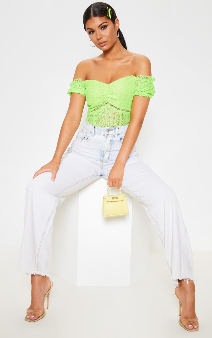 Neon Lime Lace Bardot Bodysuit 5