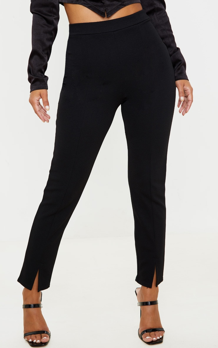 Petite - Pantalon taille haute noir en crêpe fendu 2