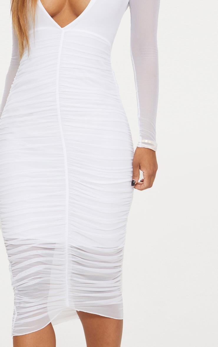 Shape White Ruched Mesh Longline Midi Dress 5