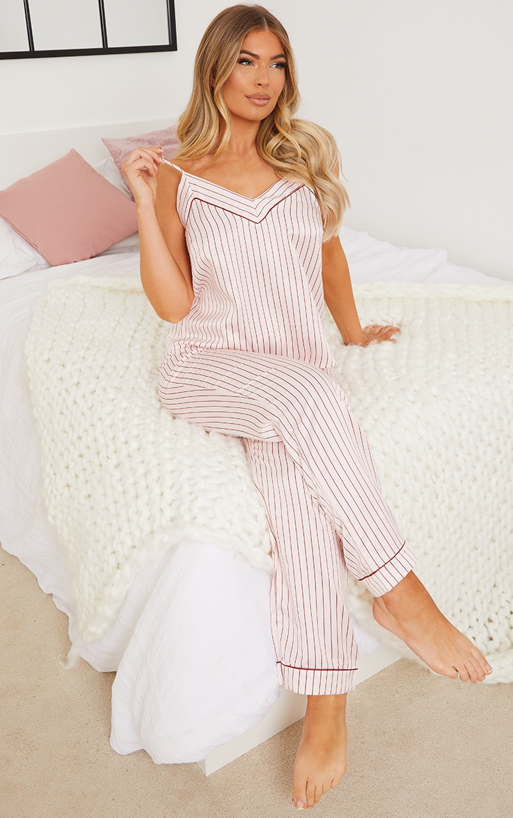 Pink Stripe Satin Cami And Trousers PJ Set