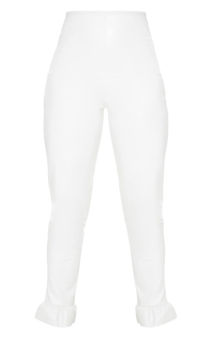 Petite Cream Frill Straight Leg PU Pants 4