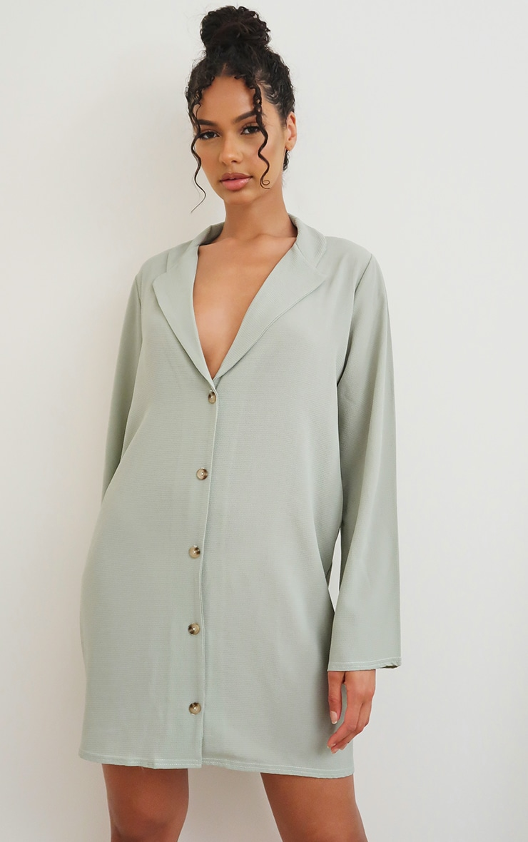 Sage Green Button Up Polo Collar Detail Shift Dress