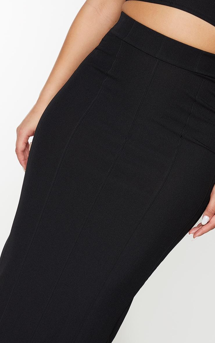 Black Rib Panel Midaxi Skirt 4